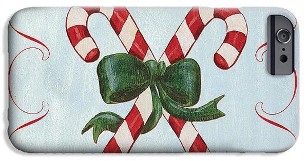 Folk Candy Cane IPhone Case by Debbie DeWitt
