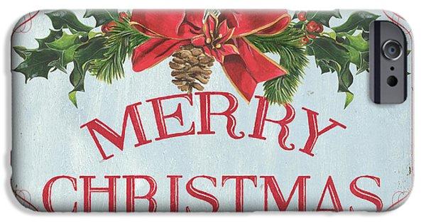 Folk Merry Christmas IPhone Case by Debbie DeWitt