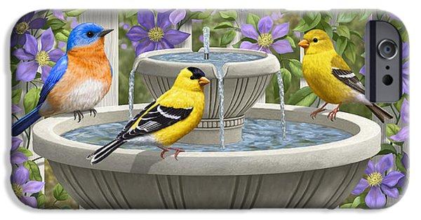 Fountain Festivities - Birds And Birdbath Painting IPhone 6s Case by Crista Forest