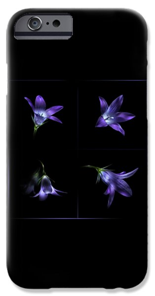 Four Bluebell Flowers - Light Painting IPhone Case by Alexey Kljatov