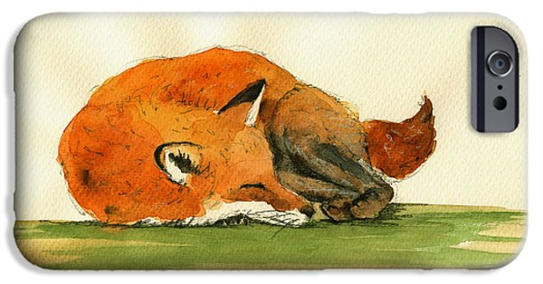 Fox IPhone Case featuring the painting Fox Sleeping Painting by Juan  Bosco