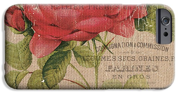 French Burlap Floral 1 IPhone Case by Debbie DeWitt