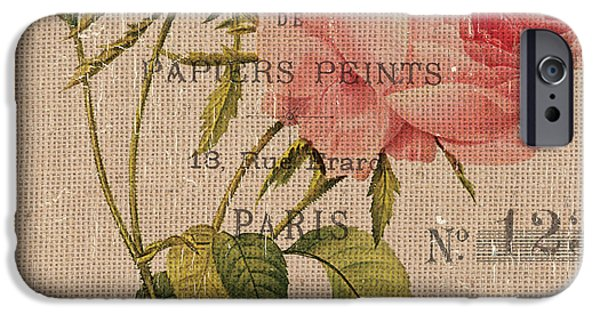 French Burlap Floral 2 IPhone Case by Debbie DeWitt