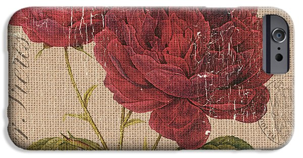 French Burlap Floral 3 IPhone Case by Debbie DeWitt
