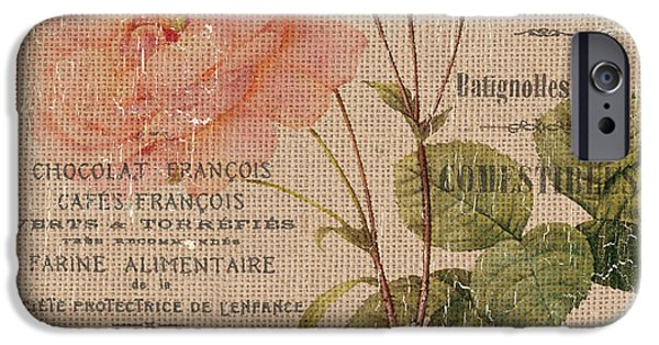 French Burlap Floral 4 IPhone Case by Debbie DeWitt