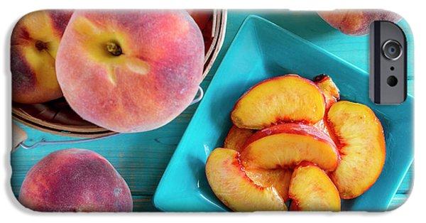 Fresh Organic Yellow Peaches And Peach Salsa IPhone Case by Teri Virbickis