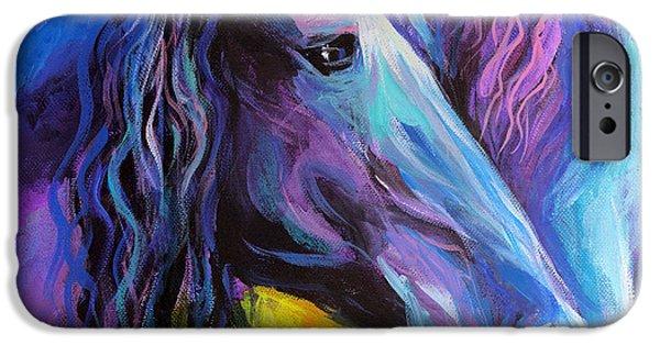 Friesian Horses Painting IPhone Case by Svetlana Novikova