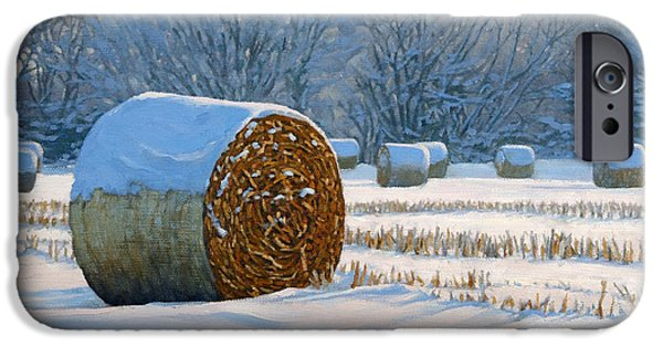 Frigid Morning Bales IPhone Case by Bruce Morrison