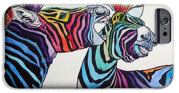 Funny Zebras IPhone Case by Kovacs Anna Brigitta