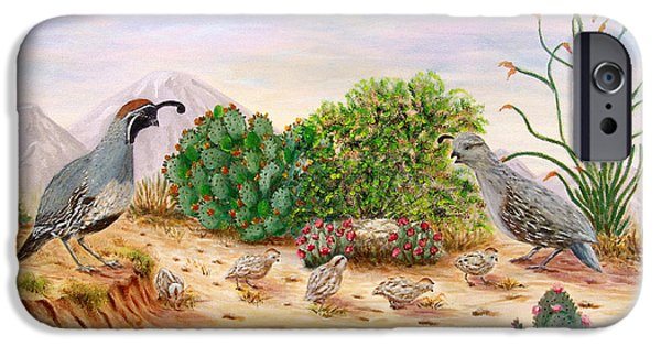 Gambel Quails Day In The Life IPhone Case by Judy Filarecki