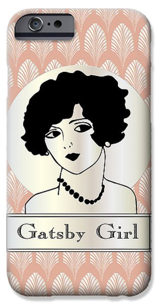 Gatsby Girl In Pink And Pearl IPhone Case by Cecely Bloom