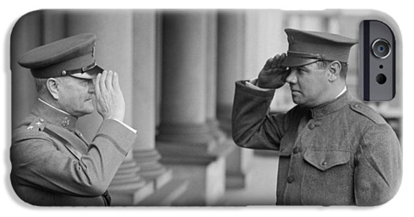 General John Pershing Saluting Babe Ruth IPhone 6s Case by War Is Hell Store