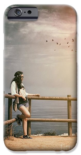 Girl On Fence IPhone Case by Carlos Caetano