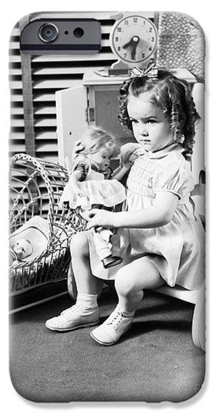 Girl Playing With Dolls, C.1930-40s IPhone Case by H. Armstrong Roberts/ClassicStock