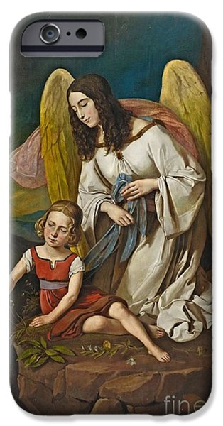 Girl With Guardian Angel IPhone Case by Josef von