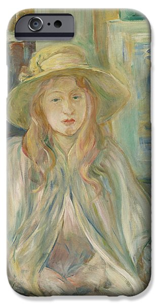 Girl With Straw Hat IPhone Case by Berthe Morisot