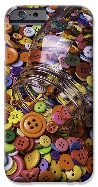 Glass Jar Spilling Buttons IPhone Case by Garry Gay