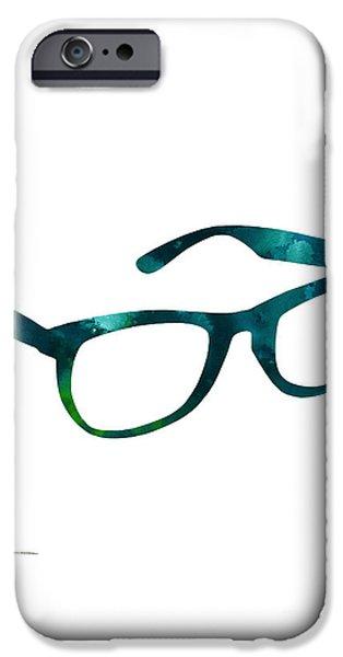 Glasses Silhouette  Watercolor Art Print Poster IPhone Case by Joanna Szmerdt