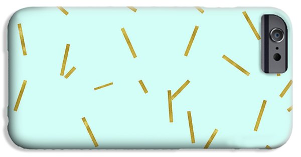 Glitter Confetti On Aqua Gold Pick Up Sticks Pattern IPhone Case by Tina Lavoie