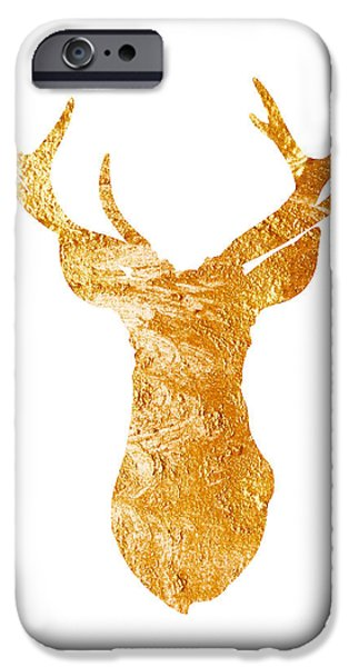 Gold Deer Silhouette Watercolor Art Print IPhone 6s Case by Joanna Szmerdt