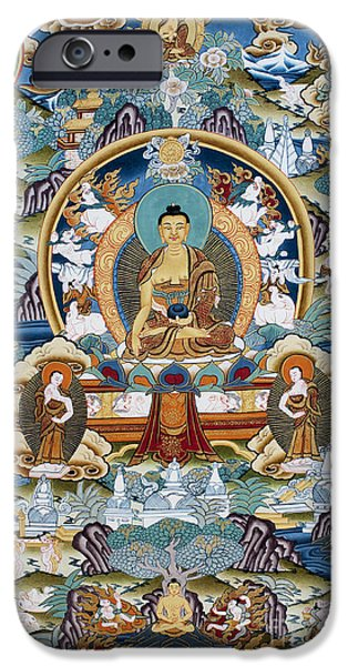 Golden Medicine Buddha Thangka IPhone Case by Tim Gainey
