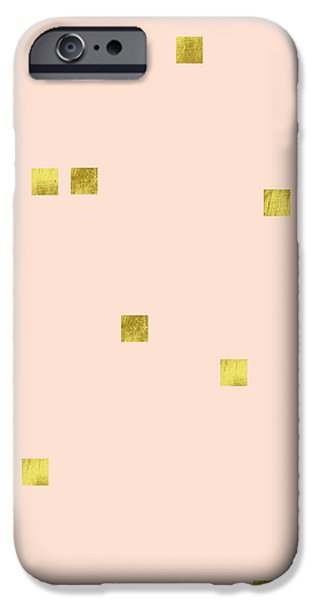 Golden Scattered Confetti Pattern, Baby Pink Background IPhone 6s Case by Tina Lavoie