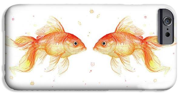 Goldfish Love Watercolor IPhone Case by Olga Shvartsur