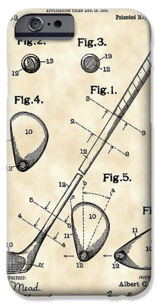 Golf Club Patent 1909 - Vintage IPhone 6s Case by Stephen Younts