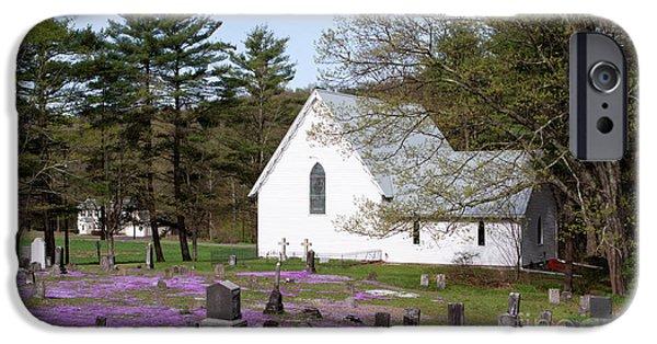 Graveyard Phlox Country Church IPhone Case by John Stephens