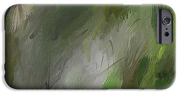 Green Abstract Wall Art IPhone Case by Lourry Legarde