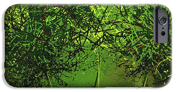 Green Explosions - Green Modern Art IPhone Case by Lourry Legarde