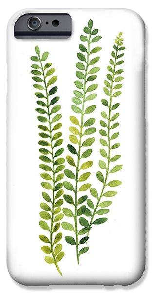 Green Fern Watercolor Minimalist Painting IPhone Case by Joanna Szmerdt