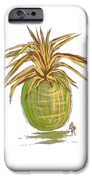 Green Gold Pineapple Painting Illustration Aroon Melane 2015 Collection By Madart IPhone 6s Case by Megan Duncanson