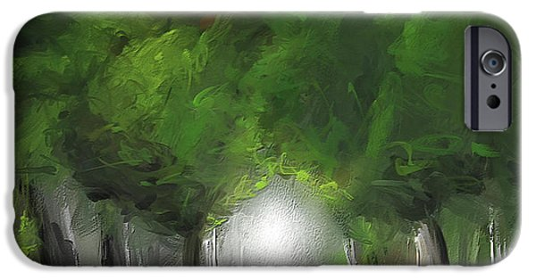 Green Serenity - Green Abstract Art IPhone Case by Lourry Legarde