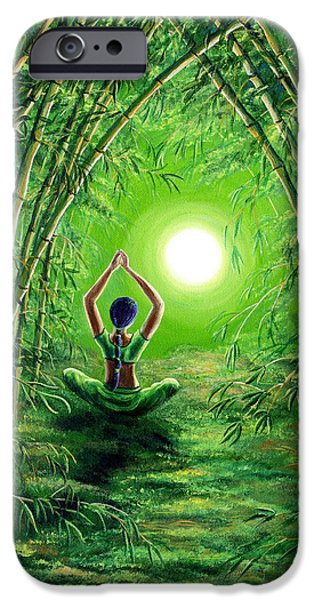 Green Tara In The Hall Of Bamboo IPhone Case by Laura Iverson