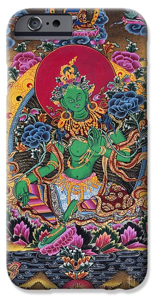 Green Tara Thangka IPhone Case by Tim Gainey
