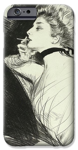 Half Length Portrait Of A Seated Woman, Smoking A Cigarette, Facing Left IPhone Case by Paul Helleu