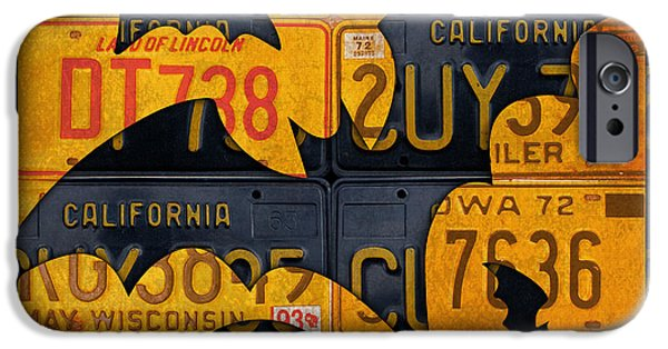 Halloween Bats Recycled Vintage License Plate Art IPhone Case by Design Turnpike