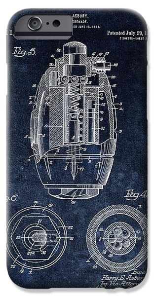 Hand Grenade Patent Drawing IPhone Case by Dan Sproul
