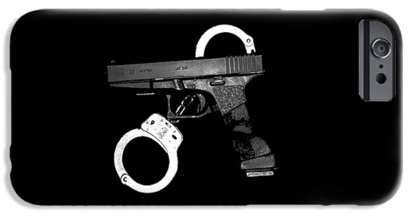 Handgun And Handcuffs .png IPhone Case by Al Powell Photography USA