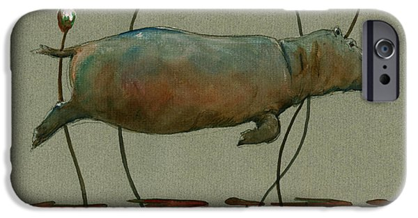Happy Hippo Swimming IPhone 6s Case by Juan  Bosco