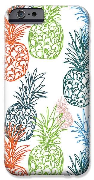 Happy Pineapple- Art By Linda Woods IPhone Case by Linda Woods