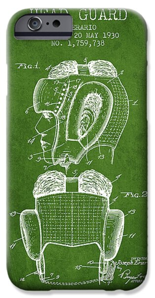Head Guard Patent From 1930 - Green IPhone Case by Aged Pixel