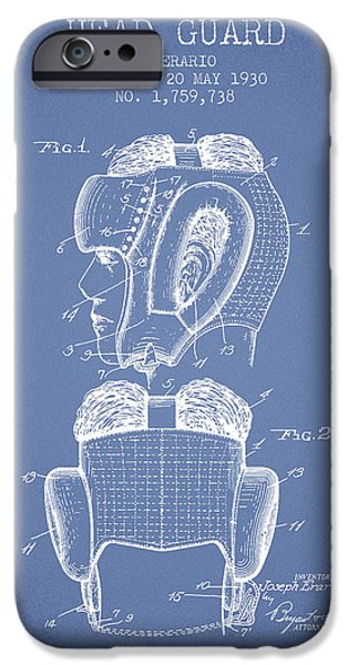 Head Guard Patent From 1930 - Light Blue IPhone Case by Aged Pixel