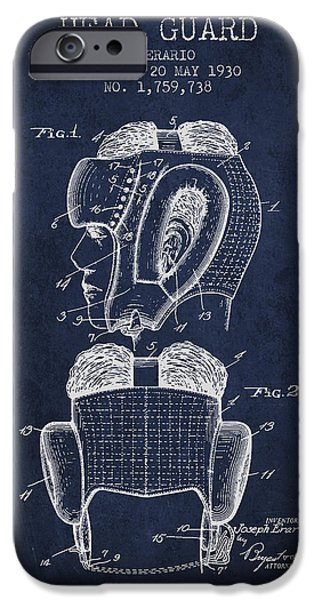 Head Guard Patent From 1930 - Navy Blue IPhone Case by Aged Pixel