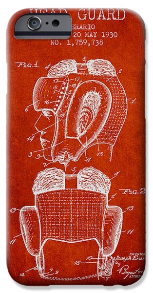 Head Guard Patent From 1930 - Red IPhone Case by Aged Pixel