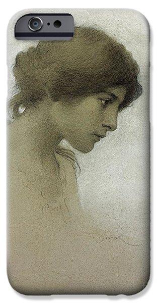 Head Of A Girl  IPhone Case by Franz Dvorak
