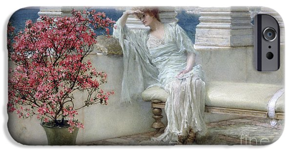 Her Eyes Are With Her Thoughts And They Are Far Away IPhone Case by Sir Lawrence Alma-Tadema