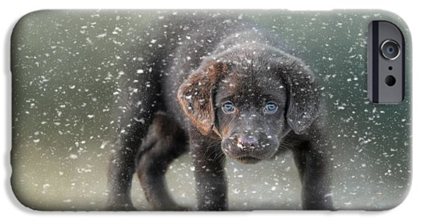 Her First Snow IPhone Case by Jai Johnson