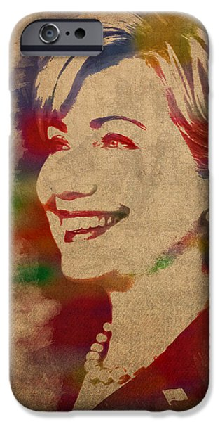 Hillary Rodham Clinton Watercolor Portrait IPhone 6s Case by Design Turnpike